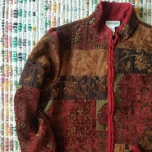 RED + BROWN OLDE FLAIR TAPESTRY JACKET SIZE SMALL
